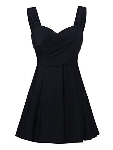 8dc6022992af54 JerrisApparel Damen Push Up Badeanzug kleid Tankini Zweiteilig Swimsuit EU  Size 44-46 Tag Size 50, Schwarz