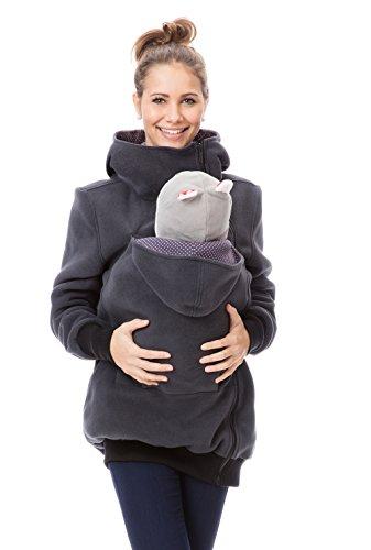 GoFuture Damen Tragejacke für Mama und Baby Känguru Klassiker VIVA  GF2301XJ3 Graphit mit violetten Punkten Gr. 38 aa021fdae94