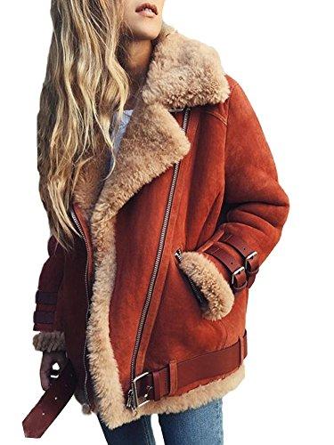 Minetom Frauen Chunky Wildleder Wolle Biker Jacke Mantel Fleece Outwear  Hellrot DE 38 a7e903f9e2