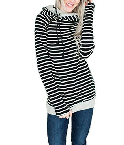 ASSKDAN Damen Gestreift Pulli Sweatshirts Hoodie Sport Langarm  Reißverschluss Pullover Outerwear 0d9e20551a