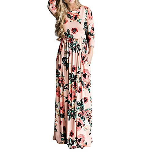 Lover Beauty Kleider Damen Blumen Kleid Elegant Langarm