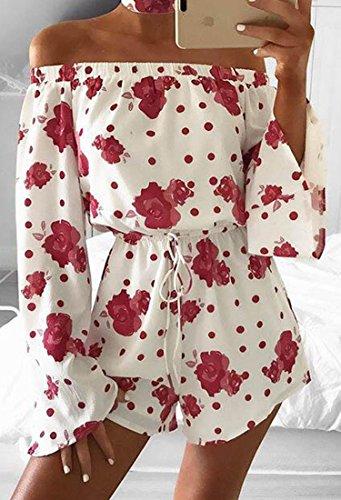ced2efe6fb4c1a ECOWISH Jumpsuit Damen Kurz Sommerkleider Strand Blumenmuster Trägerlos  Overall Spielanzug Romper
