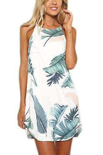 c697fea6a1b1dc YOINS Sommerkleid Damen Kurze Strandkleid Elegant Schulterfrei Ärmellos  Blumenmuster Minikleider