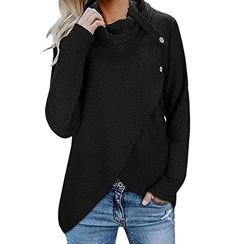 b7eca55a130ae9 VEMOW Damen Rollkragenpullover Solid Sweater Warm Cable Gestrickte Lose  Knopf Wrap Asymmetrische Langarm Sweatshirt Pullover Tops Bluse  ShirtX3-Schwarz, ...