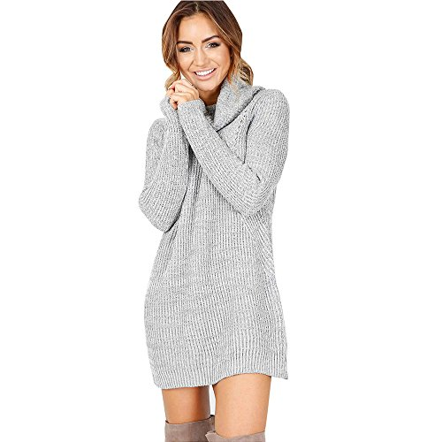 Damen Herbst Winter Pullover Kleid Strickpulli Langarm ...