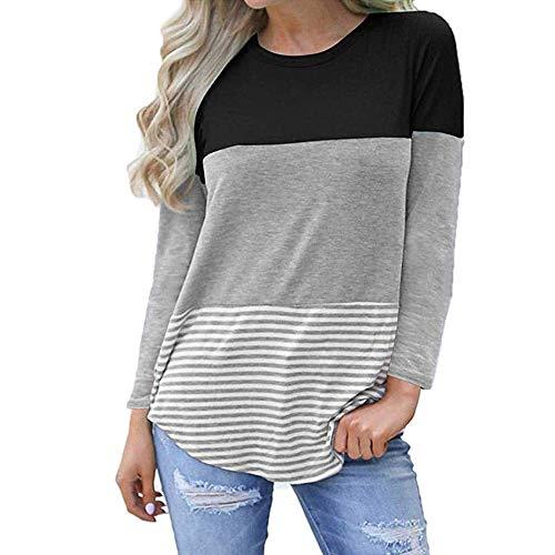 aa9982969cf312 MRULIC Frauen Kurzarm Dreifach Farbe Block Streifen T-Shirt Casual Bluse  Damen Shirt Weisse Bluse