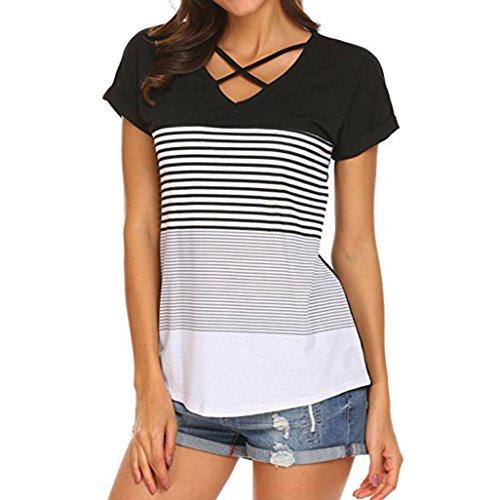 3c4964cabfe73 MRULIC Frauen Damen Streifen Splice T-Shirt Kurzarm Casual Tops Bluse  Sommer Trikot
