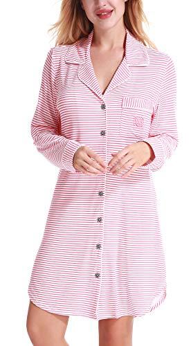 873cf88a139b5f NORA TWIPS Schlafanzugoberteile für Damen, Nachthemden für Damen, Damen  Schlafanzug Set, Damen Viskose Nachthemd Knopfleiste Sleepshirt Alle ...