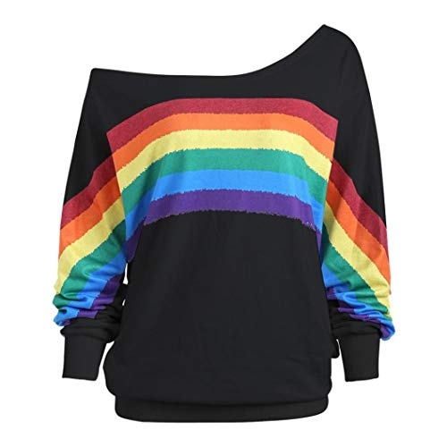 bf480395c99526 Damen Lose Rainbow Off Shoulder Pullover TWIFER Bluse Sweatshirt Langarm  Shirts