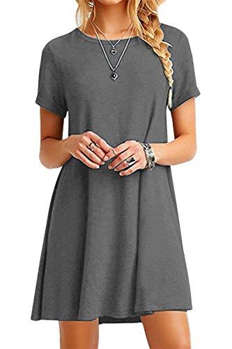 33d14fca34598d YMING Damen Casual Looses Kleid Kurzarm Große Größe Tunika Mini Sommerkleid  Langes Shirt,Grau,XXXXL/DE 48