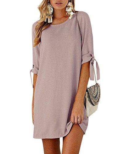 592788300ac049 YOINS Sommerkleid Damen Tshirt Kleid Rundhals Kurzarm Minikleid ...