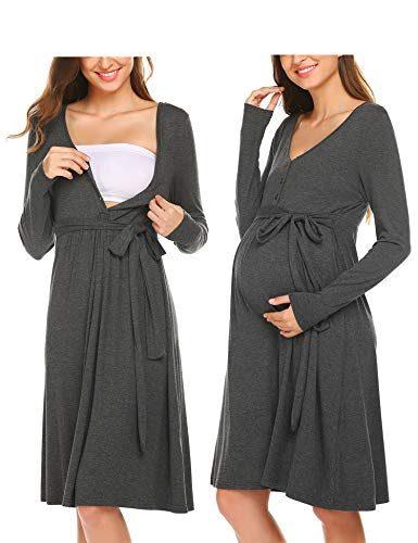 ADOME Damen Nachthemd Stillkleid Umstandskleid ...